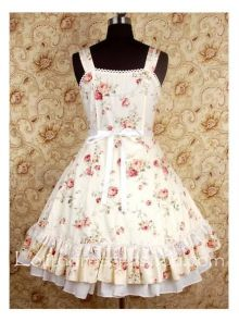 Beige Square-collar floral print Bow Waist sweet Lolita dress With flounced hemlines Style