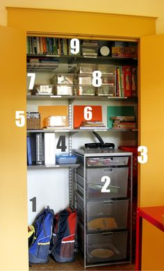 homeschool room: closet from junecleavernirvana.com - If you don't homeschool, use this idea to store library books (Kids check them out of the closet and return them when they're done.), supplies (notebook paper, report folders, poster board, glue sticks, staplers and staples, pencils and erasers, paper clips, rulers, hole punchers, etc)