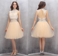 2 Piece Homecoming Dresses,Short Homecoming Dresses,Tulle Homecoming Dresses,Champagne Prom Gown,Cute Party Dresses,Backless dress,
