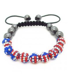 American Flag - Crystal Bracelet - Jewelry...Happy Fourth of July Outfit!!!!!