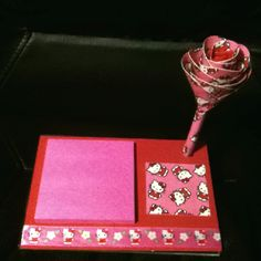 Sticky note holder w/ duct tape flower pen. Crafts by Chris
