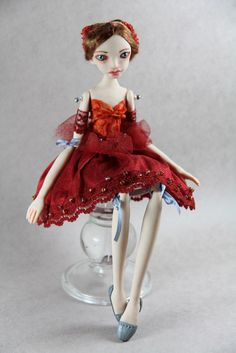 OOAK Art Doll Aurora made with polymer clay by by elenaoriginals