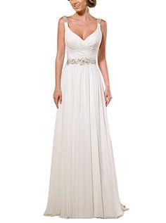 Vivebridal Women's Long Chiffon with Pleat V-Neck Wedding Dress Summer Beach Occasion White 16 Vivebridal http://www.amazon.com/dp/B012I610WK/ref=cm_sw_r_pi_dp_Zc0Svb1R1YFR2