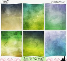 Papers by JustBYourself. Distressed layers of six different hues of blue, yellow, green, and lilac are featured on these digitally painted printable art journal papers inspired by a sunrise at the beach.