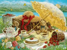 A Beary Nice Picnic, a sumptuous lakeside repast, including flowers and strawberries, set for two little brown teddy bears, one of the Janet...
