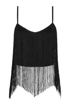 Schwarzes Kurz-Top mit Fransen-Detail #top #black #fringes