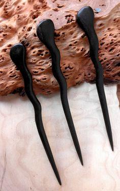 3 Ebony 6 Inch Handmade Spiral Hair Sticks