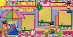 Sunkissed Summer 2 Premade Scrapbook Pages Paper Piecing Scrapbooking by Cherry | eBay