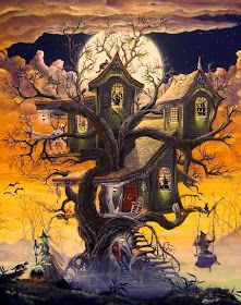 Haunted Tree House by Ron Byrum ~ Folk Art Halloween witches cats spooky Retro Halloween, Halloween Imagem, Photo Halloween, Halloween Prints, Halloween Pictures, Spooky Halloween, Holidays Halloween, Happy Halloween, Halloween Season