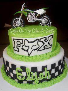 Dirtbike and FOX cake by Sugar On Top Cakes facebook.com/SugarOnTopCakes