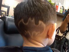 I tried to do this with a FlowBee, but it just doesn't look the same. Sorry, son. (See: 25 Signs Your Family's Obsessed--The Very Best Batman Geekery of the Interwebz on Babble! Boys Haircuts With Designs, Hair Designs For Boys, Baby Boy Haircuts, Boy Hairstyles, Toddler Hairstyles, Haircut Designs, Boy Cuts, Superhero Design, Male Hairstyles