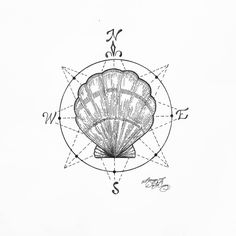 """""""Fixed final // I shall guide you from harm"""" shell compass tattoo designs moral apprentice texas geometric nautical sea marine protection"""