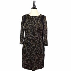 NEW LONDON TIMES Size 6 Printed Sheath Dress Black Tan Womens Pullover Crew NWT #LondonTimes #Sheath #WeartoWork