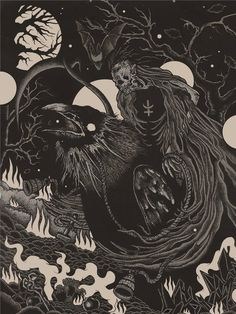 crow occult illustration reaper death art dark