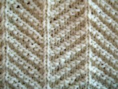 Herringbone Texture. Only knit and purl stitches are used to make up this herringbone tetxture pattern