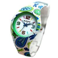 FW922D Round PNP Shiny Silver Watchcase Silicone Green Band Unisex Fashion Watch
