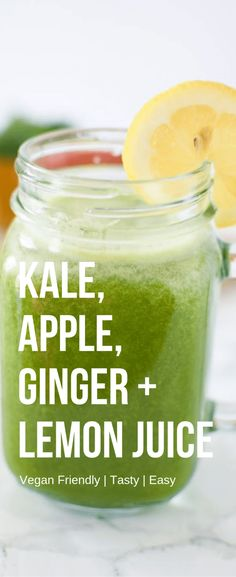 Looking for a new juicing combination?Try this tasty sweet kale, apple, lemon and ginger juice! Takes just minutes to put together and tastes great! The ginger and lemon not only add a little kick, but they'll help ward off sickness and any winter germs t Kale Juice Recipes, Juicer Recipes, Detox Recipes, Salad Recipes, Kale Smoothie Recipes, Vegan Recipes, Ninja Recipes, Blender Recipes, Fast Recipes