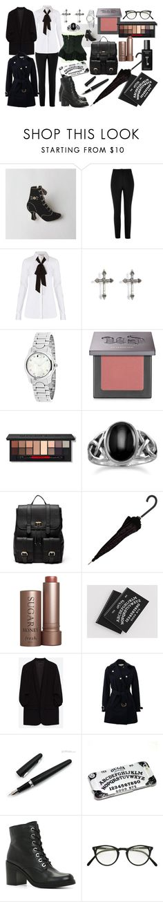 """""""Gothic Office Outfit-Board Room Meeting"""" by cerridwenstorms ❤ liked on Polyvore featuring River Island, Diane Von Furstenberg, Rachel Entwistle, Movado, Urban Decay, Smashbox, BillyTheTree, Sole Society, Fresh and TokyoMilk"""