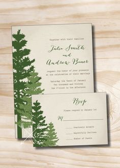 Rustic Pine Tree Wedding Invitation and Response Card - Canvas background