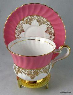 HM Sutherland Pink & Gold Bone China Tea Cup & Saucer Set Duo