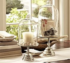 I think I will probably have to order one of these - gorgeous and satisfies 2 of my addictions! Glass Cloche with Mercury Glass Stand #potterybarn
