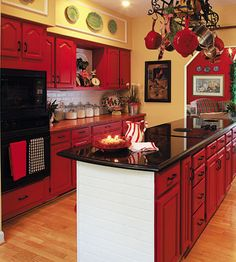 It S Always Christmas Cheery In A Red Kitchen Check Out The White Faux Brick On Island And Backsplash I Love