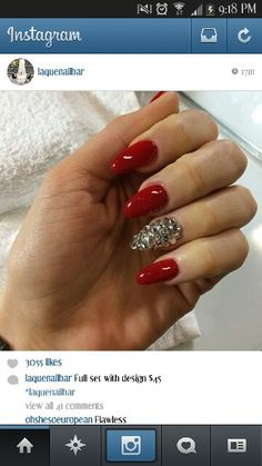Hot red with rhinestones