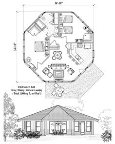 , 2 Bedrooms, 1 Baths, Patio Collection by Topsider Homes Round House Plans, Modern House Plans, Small House Plans, House Floor Plans, Hexagon House, House Plans South Africa, Silo House, 2 Bedroom House Plans, Dome House