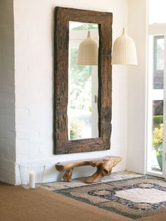 Serene Country Home in Ojai, , Serene Country Home in Ojai - Sugar and Charm - sweet recipes - entertaining tips - lifestyle inspiration. Rustic Mirrors, Big Mirrors, Charming House, Types Of Furniture, Deco Design, Rustic Furniture, Natural Furniture, Home Interior Design, Sweet Home