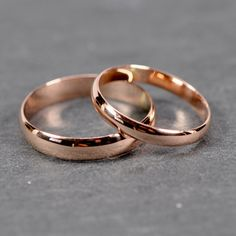 Rose Gold Wedding Band Set Solid 14K Rose Gold by seababejewelry