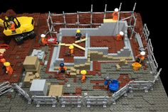 Building site 2 by Bricks for Brains Modele Lego, Construction Lego, Lego Boards, Lego Pictures, Lego System, Lego Trains, Lego Modular, Lego Room, Cool Lego Creations