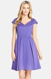 Adrianna Papell Jacquard Cap Sleeve Fit & Flare Dress