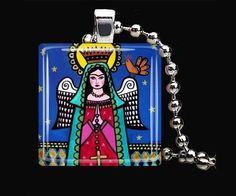Virgin of Guadalupe Necklace Mexican Folk Art by HeatherGallerArt