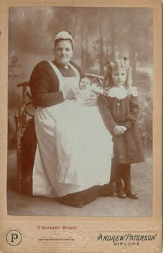 Portrait of a nanny with children by Andrew Paterson of Inverness Vintage Pictures, Old Pictures, Old Photos, Peter And The Starcatcher, Old Photography, Poor Children, Cute Little Baby, Vintage Photographs, Historical Photos