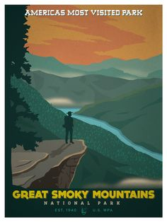 Vintage National Park poster. Based on the classic WPA posters of the early twentieth century. http://ideastorm.bigcartel.com/product/great-smoky-moutains-national-park