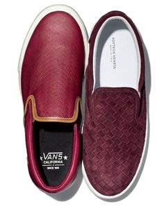 Vans slip-ons.  If you dig the look of the woven Bottega Veneta slip-ons on the right, your wallet will dig the Vans on the left.
