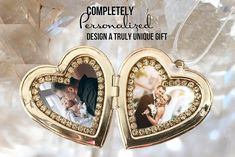 Custom Double Photo Locket - Victorian Heart - Your Own Photos - Personalized with 2 photos . Victorian Style