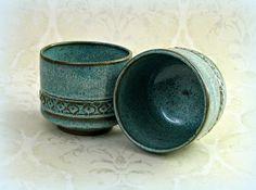 Pair Japanese Tea Cups in Speckled Aqua.