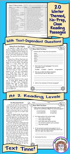 20 Winter-themed close reading and comprehension questions 20 high-interest, winter themed close reading passages with text dependent questions. Ready to use and written by a published nonfiction children's author!
