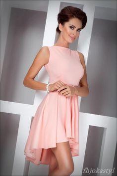 jokastyl Asymetryczna BRZOSKWINIOWA sukienka L 40   Cena: 129,00 zł  #rozkloszowana #brzoskwiniowasukienka #asymetrycznazprzodukrotsza