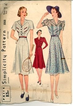 30s Spectator Dress Simplicity 3068 Bust 34 Sewing Pattern Vintage on Etsy, $18.99