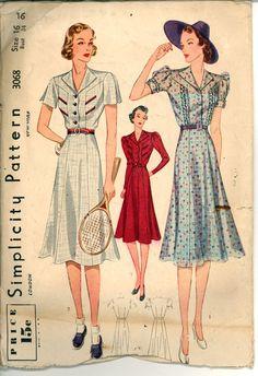 30s spettatore vestito semplicità 3068 busto 34 per cucire