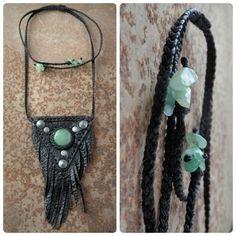 PEACENIK 006 _ Triangle leather necklace with green aventurine _ Geometric amulet necklace _ Dark boho jewelry _ Tribal necklace