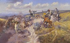 charlie russell paintings | Charles Marion Russell (American, 1864-1926). A Tight Dally and a ...