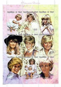 Princess Diana Postal Commemorative Sheet Issued By Chad, Diana - Princess Of Wales 1961 - 1997.
