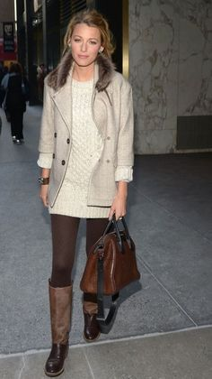 Blake Lively; fall/winter style. Lovely in knits