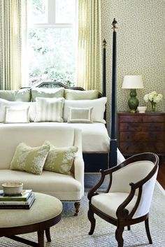 dark wood. light fabrics...love the wallpaper