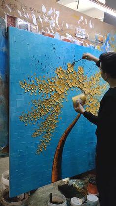 Texture Painting On Canvas, Canvas Painting Tutorials, Diy Canvas Art, Tree Wall Art, Art Mural, Flower Art, Art Tips, Modern Art, Buddha Wall Art