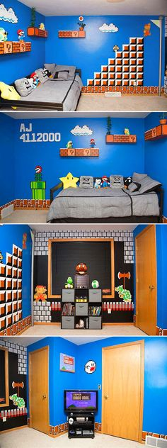 50 Video Game Room Ideas to Maximize Your Gaming Experience Best Video Game Room Design Ideas # gameroomdisign Super Mario Room, Boy Room, Kids Room, Video Game Rooms, Video Game Bedroom, Game Room Design, Stage Design, Gamer Room, Room Themes