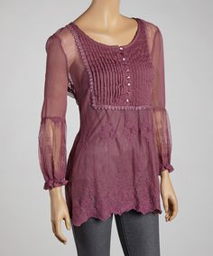Take a look at this Zashi Plum Lace Peasant Top on zulily today!